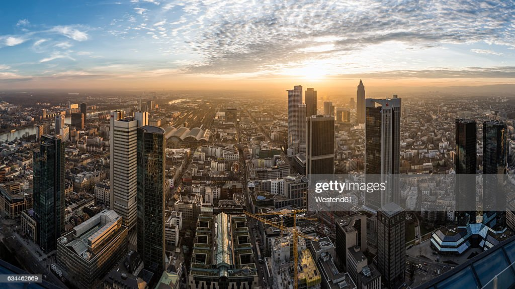 Germany, Frankfurt, View over the city at sunset from above : Stock Photo