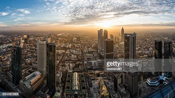 germany, frankfurt, view over the city at sunset from above - frankfurt am main stock-fotos und bilder