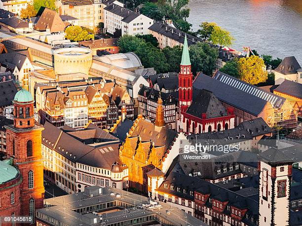 Germany, Frankfurt, view to Old St Nicholas Church at Roemerberg from above