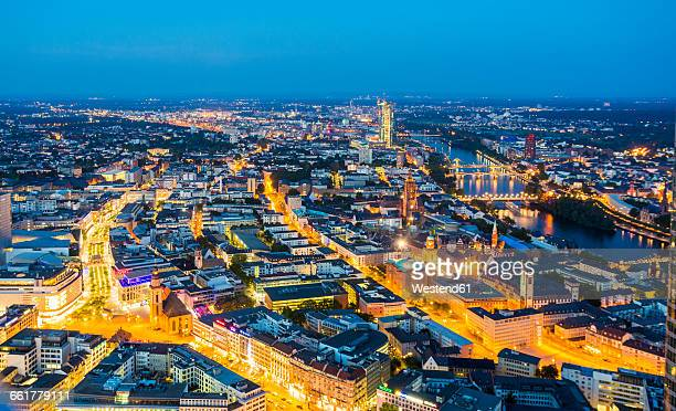 Germany, Frankfurt, view to the lighted city from above