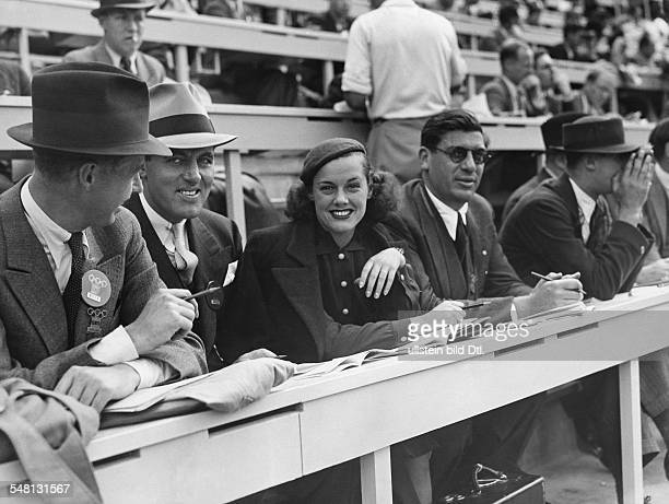 Germany Free State Prussia Berlin 1936 Summer Olympics Eleanor HolmJarret disqualified US swimmer at the press gallery as reporter for the Hearst...