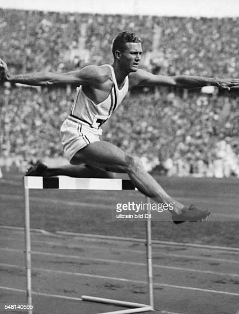 Germany Free State Prussia Berlin 1936 Summer Olympics Glenn Hardin USA winner of the 400m hurdles identical with image no #68713 1936 Photographer...
