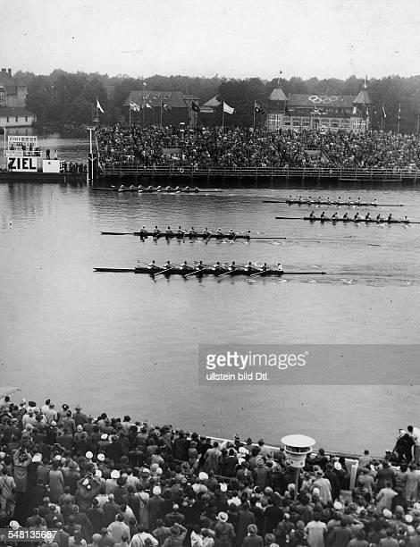 Germany Free State Prussia Berlin 1936 Summer Olympics Rowing men's eight in Gruenau 1936 Vintage property of ullstein bild