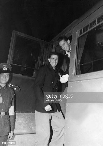 Germany Free State Prussia Berlin 1936 Summer Olympics US polevaulters Earle Meadows and William Sefton boarding a train to get back to the Olympic...