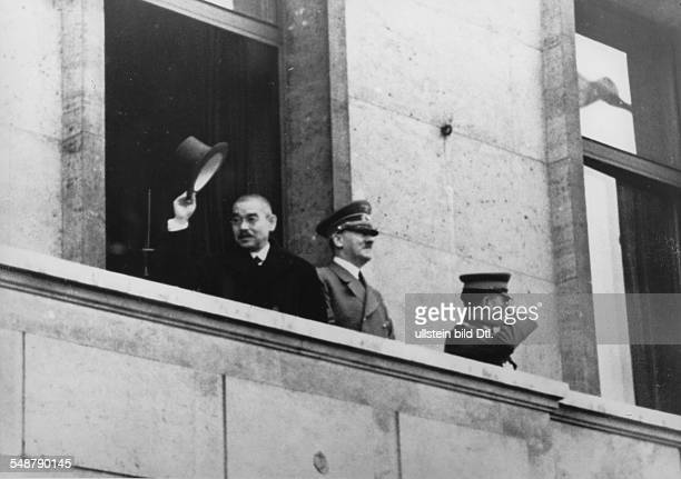 Germany Free State Prussia Berlin : Adolf Hitler and the Japanese foreign minister Matsuoka on the balcony of the Reich Chancellery ; right: Japanese...