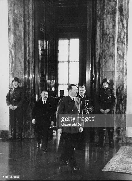 Germany Free State Prussia Berlin : Adolf Hitler and the Japanese foreign minister Matsuoka are going to the balcony of the Reich Chancellery - 1941...