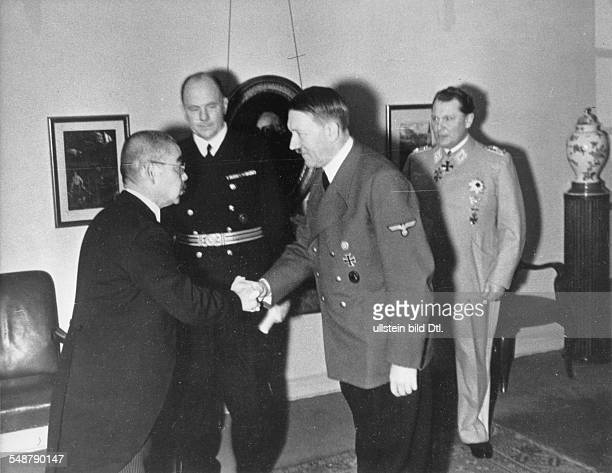 Germany Free State Prussia Berlin Adolf Hitler receiving the Japanese foreign minister Matsuoka in the Reich Chancellery right Nazi leader Hermann...