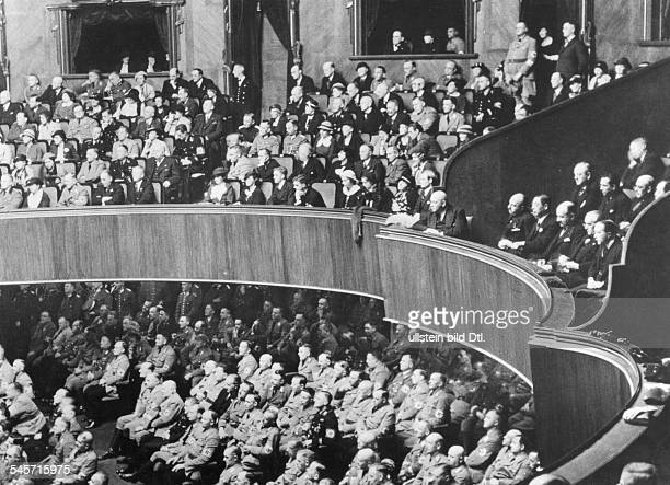 Germany Free State Prussia Berlin Berlin Audience during Hitlers speech in the Reichstag with the following Diplomats First row from the right Sir...