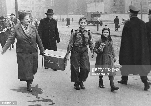 Germany Free State Prussia Berlin Berlin Hitler Youth a Hitler boy returning from the country year before christmas Photographer PresseIllustrationen...