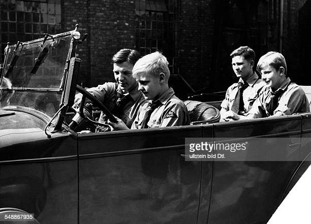 Germany Free State Prussia Berlin Berlin Hitler Youth Boys during a driving lesson Photographer Herbert Hoffmann Published by 'Berliner Illustrirte...