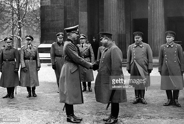 Germany Free State Prussia Berlin Berlin Lieutenant Yamashita Tomoyuki after a wreath laying ceremony at the cenotaph at the street Unter den Linden...