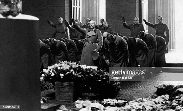 Germany Free State Prussia Berlin Berlin Lieutenant Yamashita Tomoyuki during a wreath laying ceremony at the cenotaph at the street Unter den Linden...