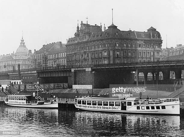 Germany Free State Prussia Berlin Berlin Plebiscite 1936 Propaganda of the SA navy standard 77 on ships at the bridge Jannowitzbruecke Photographer...
