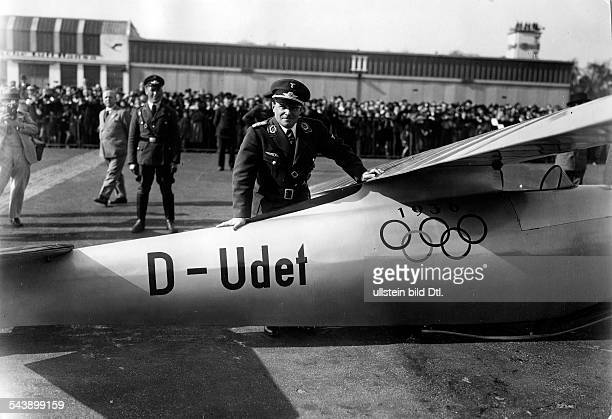 Germany Free State Prussia Berlin Berlin The air show 'Kraft durch Freude' at the airport Tempelhof Ernst Udet at his glider characterized by the...