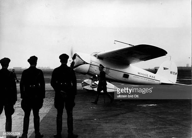 Germany Free State Prussia Berlin Berlin The Lockheed Vega plane 'Winnie Mae' of the pilot Wiley Hardman Post after the landing at the airport...