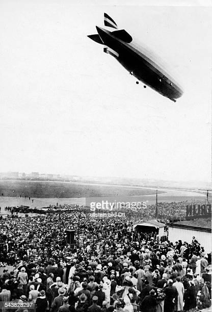 Germany Free State Prussia Berlin Berlin The rigid airship Zeppelin flying over the Berlin Tempelhof Airport - ca. 1929- Photographer: Walter Gircke-...
