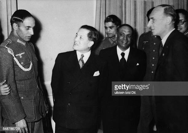 Germany Free State Prussia Berlin : Ceremony of the Organisation Azad Hind in Berlin; the Japanese Embassador Hiroshi Oshima talking to a member of...