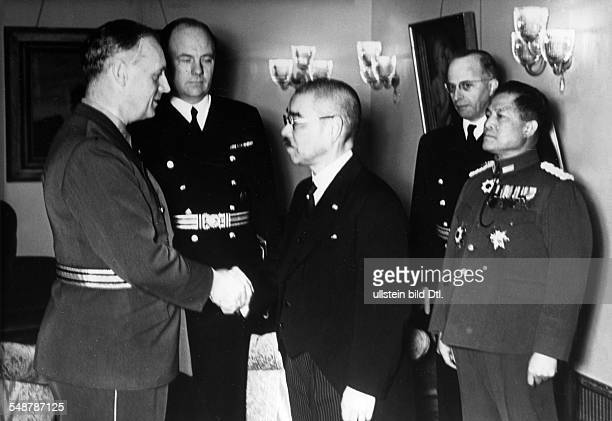 Germany Free State Prussia Berlin : German Foreign Minister Joachim von Ribbentrop shaking hands with his Japanese counterpart Matsuoka in the...
