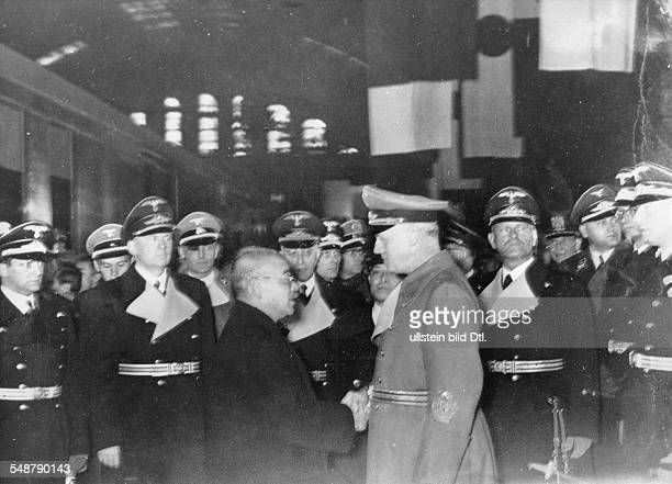 Germany Free State Prussia Berlin : German Foreign Minister Joachim von Ribbentrop seeing off his Japanese counterpart Matsuoka at the Anhalter...
