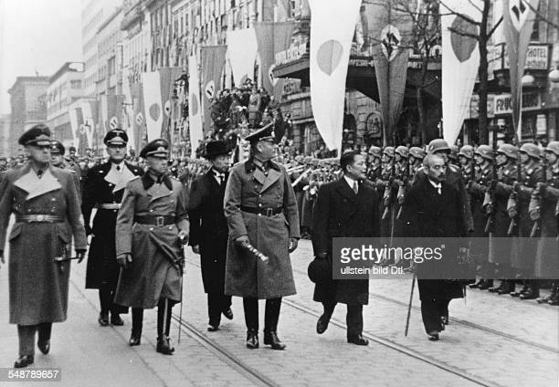 Germany Free State Prussia Berlin Japanese foreign minister Matsuoka taking the guard of honour upon his arrival in Berlin to his right Japanese...
