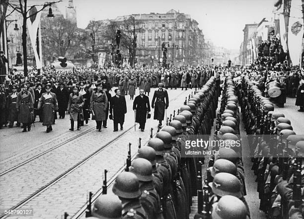 Germany Free State Prussia Berlin : Japanese foreign minister Matsuoka taking the guard of honour upon his arrival in Berlin - 1941 - Vintage...