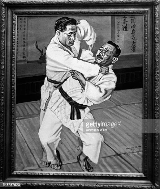 Germany Free State Prussia Berlin Painting 'Judo' by Japanese painter Kameho exhibited in Berlin on the occasion of the 1936 Summer Olympics August...