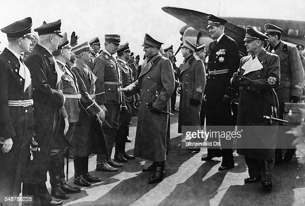 Germany Free State Prussia Berlin Representatives of Nazi Germany welcome Italian Foreign Minister Count Galeazzo Ciano at Tempelhof Airport who had...