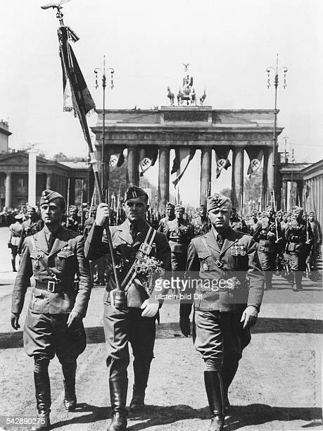 Germany Free State Prussia Berlin Return of the Condor Legion from Spain members of the Legion marching through the Brandenburg Gate Berlin with a...