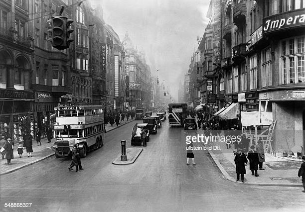 Germany Free State Prussia Berlin Traffic on the street Friedrichstrasse corner of Kronenstrasse 1930 Published by 'Tempo' Vintage property of...