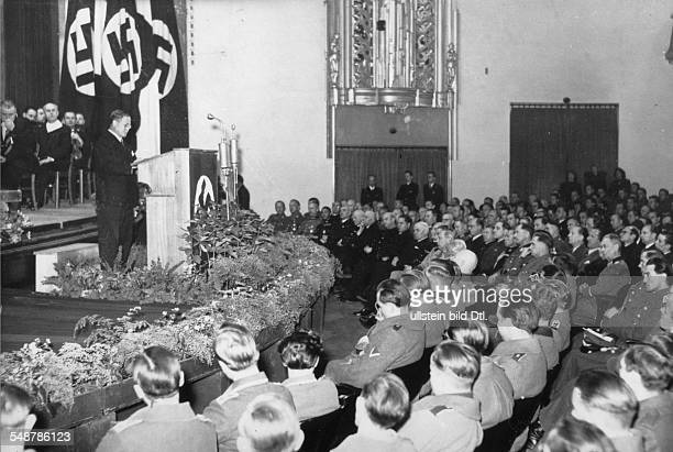 Germany Free State Prussia Berlin : Tripartite Pact Japanese Embassador Hiroshi Oshima giving a speech at a ceremony to mark the 2nd anniversary of...