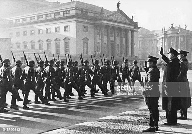 Germany Free State Prussia Berlin : Tripartite Pact Parade of a guard of honour on Unter den Linten Boulevard on the occasion of the 1st anniversary...