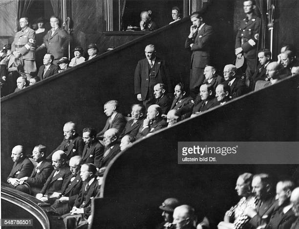 Germany Free State Prussia Berlin View of the diplomats box in the Reichstag during Hitler's speech about compulsory military service first row from...