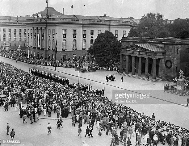 Germany Free State Prussia Brandenburg Province Berlin Parade of the German Navy in front of the memorial ' Neue Wache ' Unter den Linden on the left...