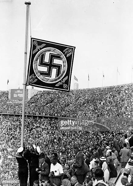 Germany Free State Prussia Brandenburg Province Berlin The Fuehrer standard during the Olympic Games 1936 in the Olympic Stadium Photographer Heinz...