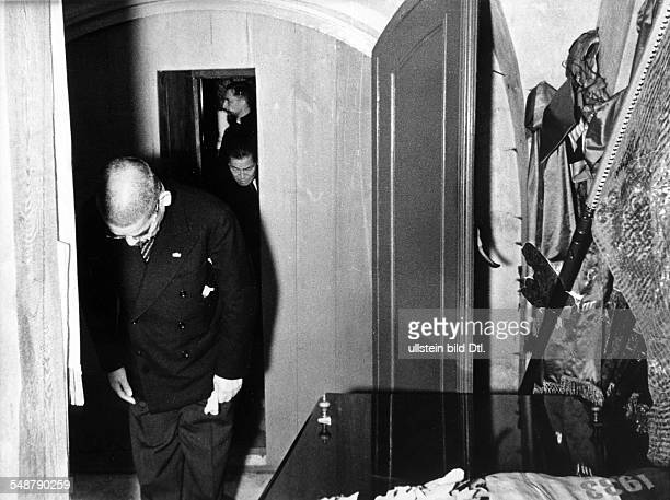 Germany Free State Prussia Brandenburg Province Potsdam: Japanese foreign minister Matsuoka bowing to Prussian Emperor Frederick the Great in his...