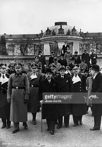 Germany Free State Prussia Brandenburg Province Potsdam Japanese foreign minister Matsuoka visiting the park of Sanssouci Palace 2nd to his right Dr...
