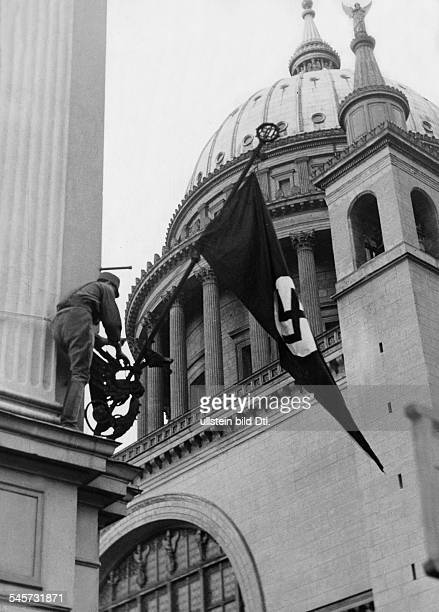 Germany Free State Prussia Brandenburg Province Potsdam Third Reich opening of the Reichstag 'Day of Potsdam' The svastika flag set up near the...