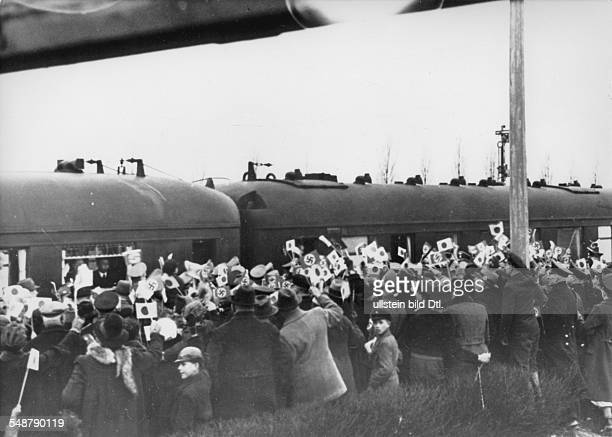 Germany Free State Prussia Crowd welcomes the Japanese foreign minister Matsuoka at the train station of Bentschen which is on the line between...