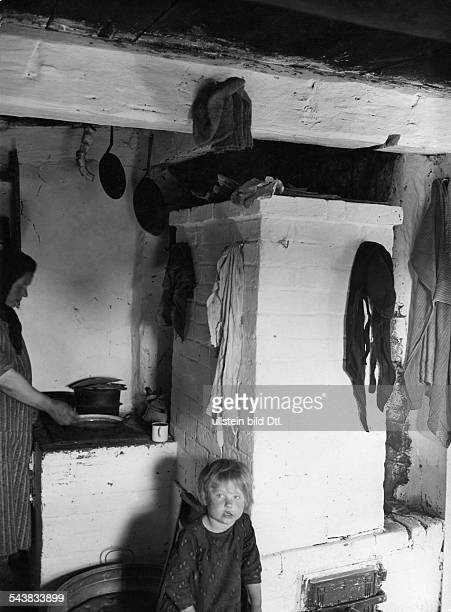 Germany Free State Prussia East Prussia Province Masuria view of a furnace in a poor farmer's house 1934 Photographer Seidenstuecker Vintage property...