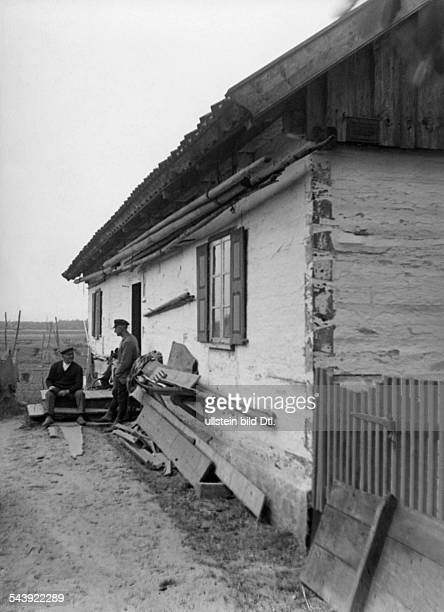 Germany Free State Prussia East Prussia Province Matrossowo at the Couronian Lagoon men outside a farmhouse 1934 Photographer Seidenstuecker Vintage...