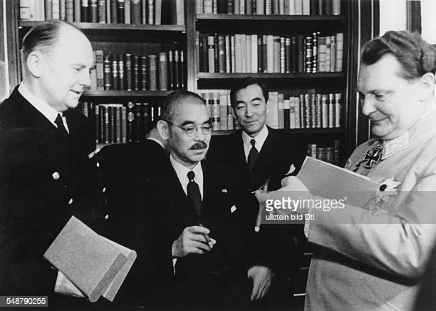 Germany Free State Prussia Japanese foreign minister Matsuoka during his visit to Nazi leader Hermann Göring in Carinhall near Berlin Göring is...