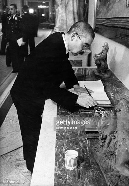 Germany Free State Prussia Japanese foreign minister Matsuoka signs the visitors' book at Göring's country residence Carinhall near Berlin 1941...
