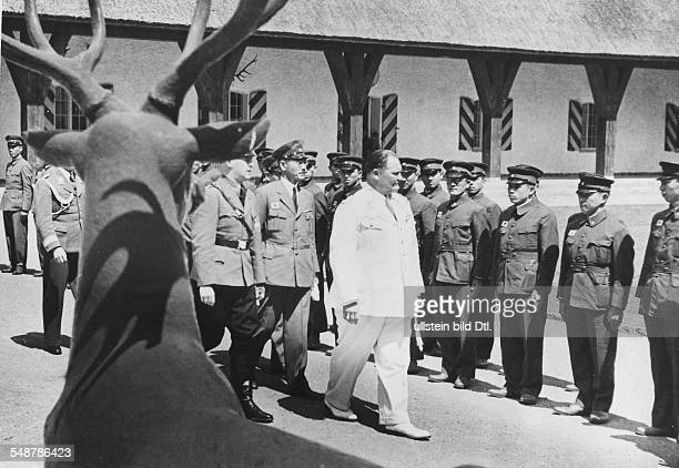 Germany Free State Prussia Nazi leader Hermann Göring welcomes a Japanese youth delegation at his residence Carinhall near Berlin 1938 Vintage...