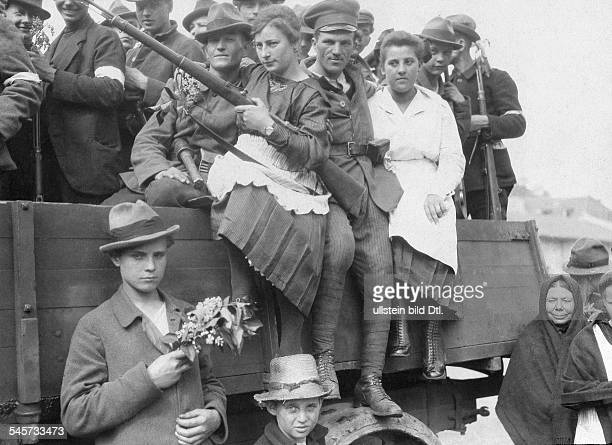 Germany Free State Prussia Province of Upper SilesiaSilesian Uprising 1921 Polish militia Polish girls with members of the Polish militia 1921...