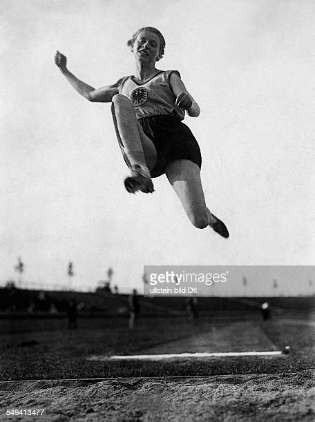 Germany Free State Prussia Silesia province Breslau German Championship in Breslau Long jump Long jumper Miss von Bredow in action 1927 Photographer...
