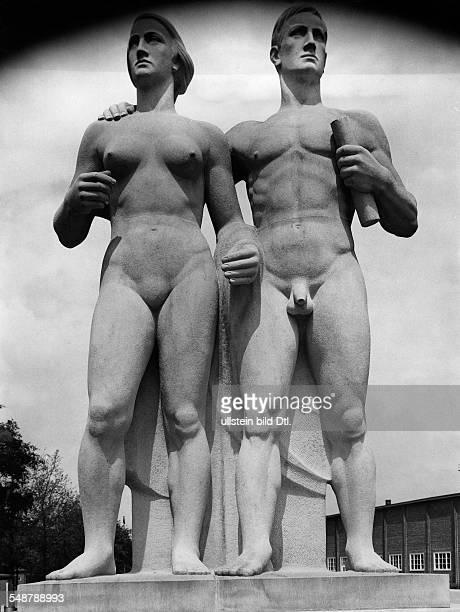 Germany Free State Prussia Silesia province Breslau Herman Goering sports field sandstone sculpture 'Sportlerpaar' by Johannes Kuinka undated...