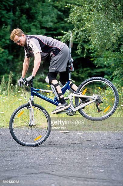 Germany: Free time.- Riding a mountainbike.
