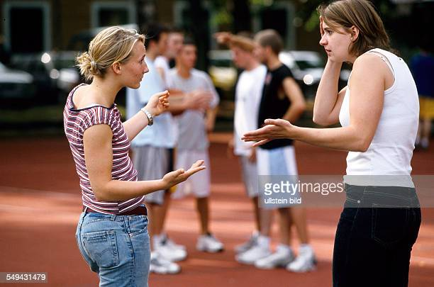 Free time Tow women talking about basketball