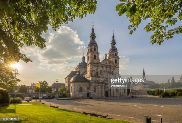 Germany, Fulda, view to Fulda Cathedral Sankt Salvator at evening twilight