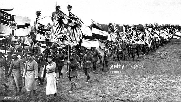 Germany Gathering of the 'Steel Helmets' at the training ground of Koblenz Germany Parade of the colours